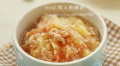 原料:番茄50克;土豆50克;猪瘦肉末20克;调味:盐1/4小勺;料酒1/4小勺;营养:适合十一个月以上的宝宝食用。做法和步骤:番茄土豆羹做法和步骤1准备材料。2番茄洗净去皮、切碎,土豆去皮切小块。3