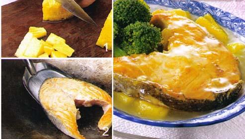 <br />  <br />   <br /> 菠萝鲑鱼排-食欲不佳怀孕初期<br />   【材料】鲑鱼片200克、菠萝100克(1/8个)、葱1-2棵、姜1-2片  【调味料】  A料:盐1/4小匙 淀粉1小匙  B料:胡椒粉1/8小匙