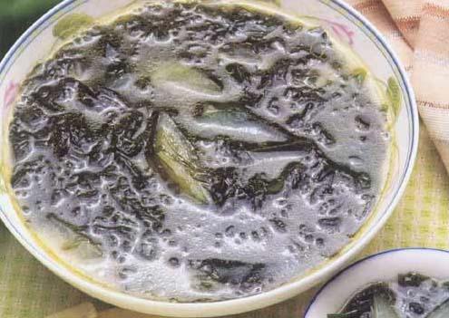 <br />  <br />   <br /> 淡菜海带冬瓜汤怀孕280天孕妇饮食第168<br />  <br /> 用料:淡菜25克、水发海带50克、冬瓜150克、绍酒10克、精盐、味精、葱结、姜片、豆油各适量。制法:<br />  <br /> 1、将淡菜用冷水泡软,去