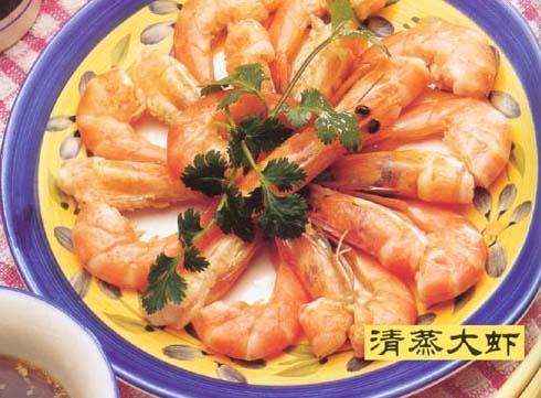 <br />  <br />   <br /> 清蒸大虾怀孕280天孕妇饮食第207<br />   用料:<br />  <br />   大虾500克、香油、料酒、酱油、味精、醋、汤、葱、姜、花椒各适量。  制法:<br />  <br />   1、大虾洗净。<br />  <br />   2、将大虾