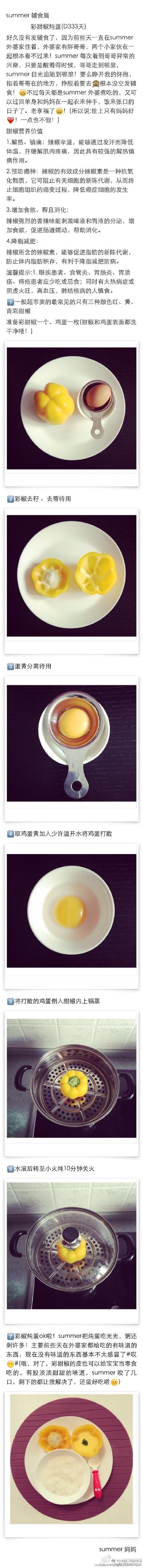 【彩甜椒炖蛋适合9个月以上的宝宝,这个彩椒蒸蛋外形可爱,吃完蒸蛋后还可以把彩椒用食物剪剪小食用,作为宝宝的手指食物哦~