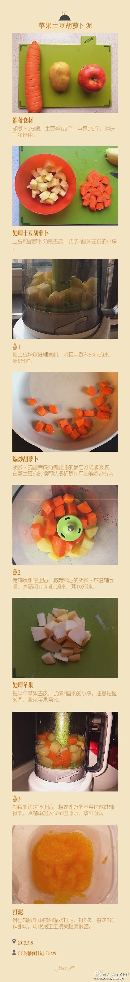 苹果土豆胡萝卜泥适合7个月以上的宝宝,要搭配米粉吃营养才更均衡哦~