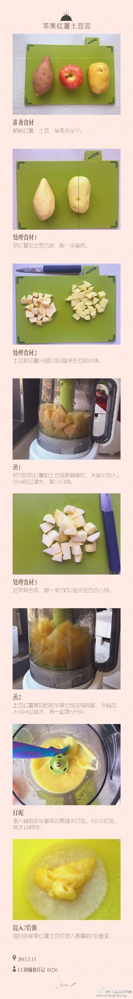 苹果红薯土豆泥适合7个月以上的宝宝三种食材混合,搭配7倍粥,宝宝吃的好开心7倍粥10倍粥的做法: